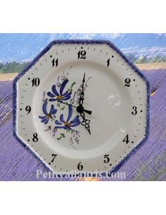 Horloge octogonale en faïence décor Fleuri jaune-orangé et bleu