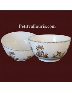 Saladier décor Tradition Vieux Moustiers polychrome