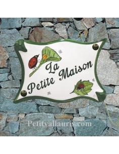 Plaque pour maison modèle parchemin en céramique décor coccinelles