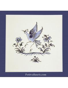 Carreau mural cuisiine et salle de bain décor oiseau (3) inspiration Vieux Moustiers bleu