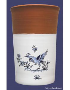 Brique à vin rafraichisseur en terre rouge émaillée à mi-hauteur motif oiseau reproduction moustiers bleu référence 5201