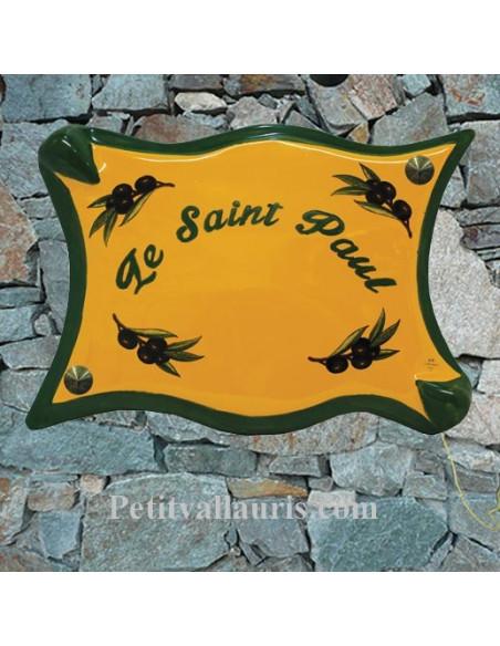 Plaque de maison parchemin en céramique Provençale décor Olives