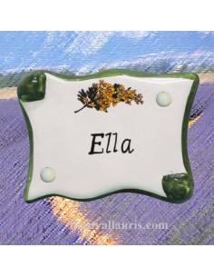 Plaque de porte modèle parchemin texte personnalisable décor mimosas