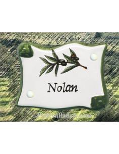 Plaque de porte modèle parchemin texte personnalisable décor olives