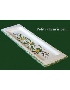 Repose-porte cuillère en faïence blanche motif artisanal décor Fleurs vertes