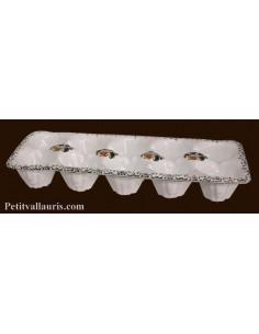 Plaque à oeuf en faience décor Tradition Vieux Moustiers polychrome 10 oeufs