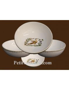 Assiette creuse à soupe ou à salade en faience blanche décor reproduction vieux moustiers