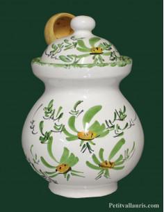 Pot à olives avec cuillère bois décor fleuri coloris au choix