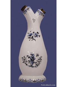 Huilier-vinaigrier décor Tradition Vieux Moustiers bleu