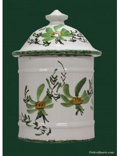Pot De Salle De Bain Et A Coton En Faience Blanche Motif Artisanal Fleurs Roses