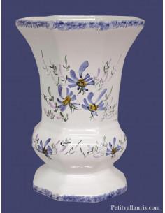 Vase modèle Medicis en faïence décor Fleuri bleu Taille 3