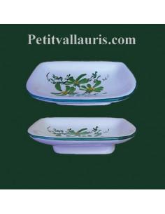 Porte savon en céramique modèle Annie décor Fleurs vertes