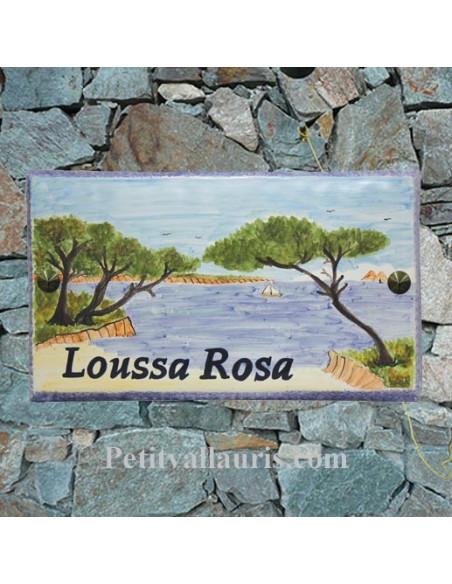Plaque de Maison rectangle en céramique émaillée décor artisanal motif paysage cap sicié + inscription personnalisée