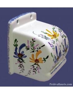 Dérouleur-dévidoir de papier toilette fermé en faience blanche décor artisanal fleuri bleu et jaune