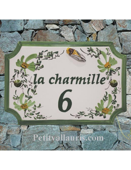 Plaque de Maison rectangle décor fleurs vertes inscription personnalisée verte