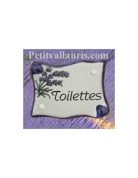 Plaque de porte en faience émaillée blanche modèle parchemin décor brin de lavande inscription Toilettes