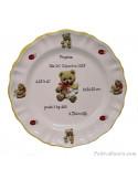 Assiette souvenir de naissance bébé décor oursons + prénom + date + poids + taille
