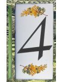 Numero de rue chiffre 4 décor brins de mimosas
