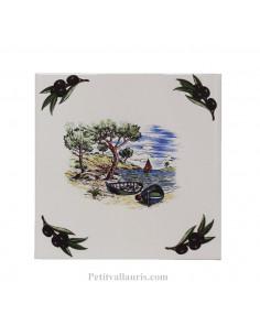 Carreau 15 x 15 cm décor Méditerannéen + pointu + crique + olives noires