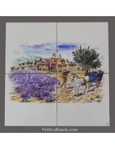 Fresque faïence Paysage village + lavandes + charette sur 4 carreaux 15 x 15cm