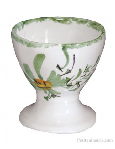 Coquetier en faience décor Fleuri vert Personnalisable avec Prénom
