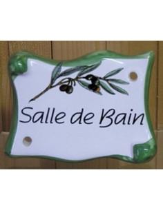 Plaque de porte en faience émaillée blanche modèle parchemin motif brin d'olivier inscription Salle de Bain