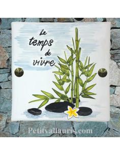 Plaque texte et décor personnalisé pour votre maison motif bambou zen