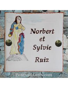 Plaque texte et motif personnalisé pour votre maison notre dame de santa cruz