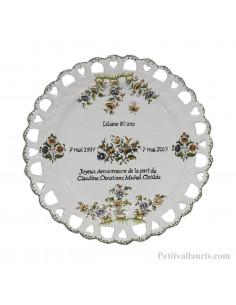 Assiette avec gravure pour anniversaire modèle Tournesol décor reproduction fleurs tradition