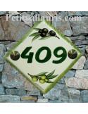 Numéro de maison décor brins d'olives vertes et noires pose diagonale