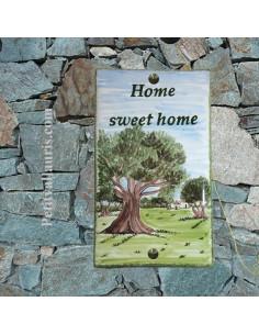Plaque de maison motif artisanal personnalisé paysage champs oliviers pose verticale