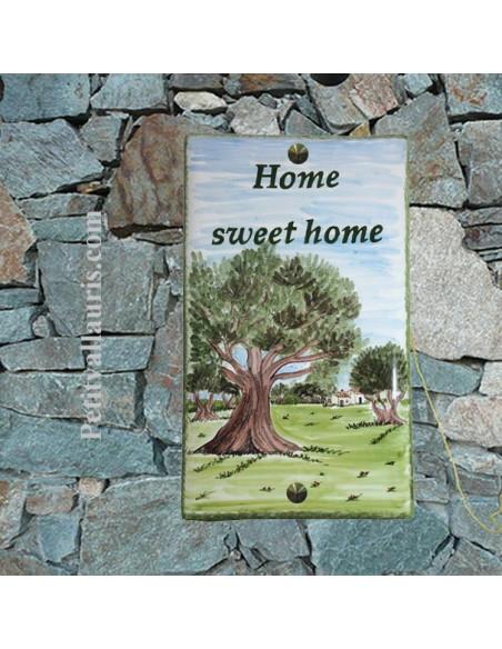 Plaque de maison rectangle en céramique motif artisanal paysage champs oliviers pose verticale + personnalisation