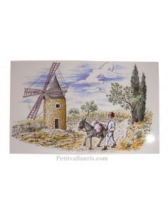 Petite Fresque céramique murale blanche motif moulin et meunier des alpilles
