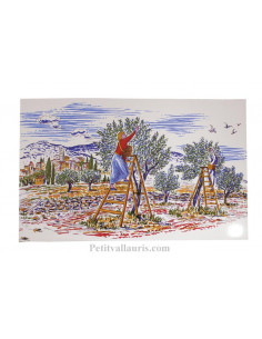 Petite Fresque céramique murale blanche motif récolte des olives