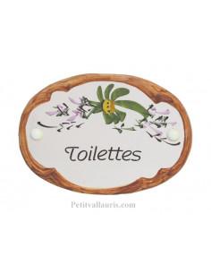Plaque de porte Ovale en céramique blanche motif fleur verte bord ocre inscription Toilettes