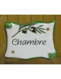 Plaque de porte parchemin Chambre décor brin d'oliviers