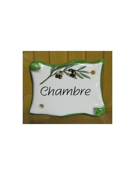 Plaque de porte en faience émaillée blanche modèle parchemin motif brin d'olivier inscription Chambre