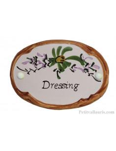 Plaque de porte Ovale en céramique blanche motif fleur verte bord ocre inscription Dressing