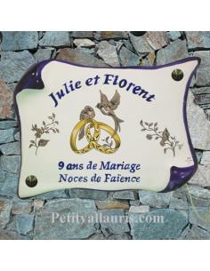 plaque modèle parchemin pour noces de mariage avec inscription personnalisée bleue