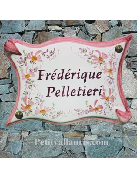 Plaque pour propriété modèle parchemin en céramique fleurs roses