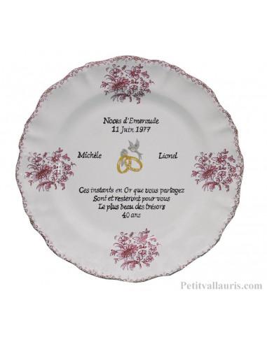 Assiette Souvenir 40 Ans De Mariage Modèle Louis Xv Décor Rose Poème Noces Demeraude