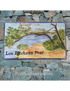 Plaque de Villa rectangle motif paysage litoral varois avec inscription personnalisée