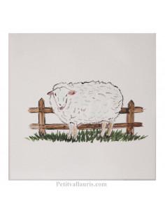 Carreau mural en faience blanche avec motif artisanal Le mouton