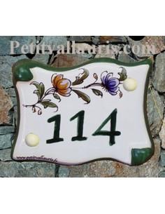 Plaque parchemin vieux moustiers polychrome chiffre
