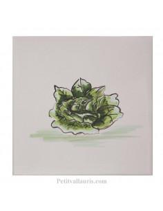 Carreau mural en faience blanche avec motif artisanal salade laitue