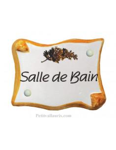 Plaque de porte modèle parchemin inscription Salle de bain motif mimosas