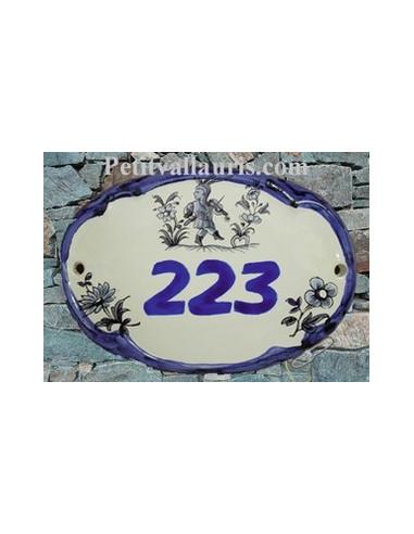 Plaque de porte ovale vieux moustiers bleu chiffre
