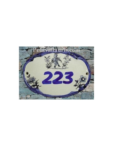 Plaque de porte en faience blanche modèle ovale décor bleu avec inscription chiffre personnalisée