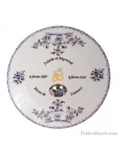 Assiette de Mariage porcelaine avec photo et gravure personnalisées décor fleurs camaïeux de bleu