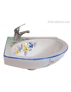 Lave-main porcelaine modèle d'angle décor artisanal Fleurs bleues et jaunes orangées